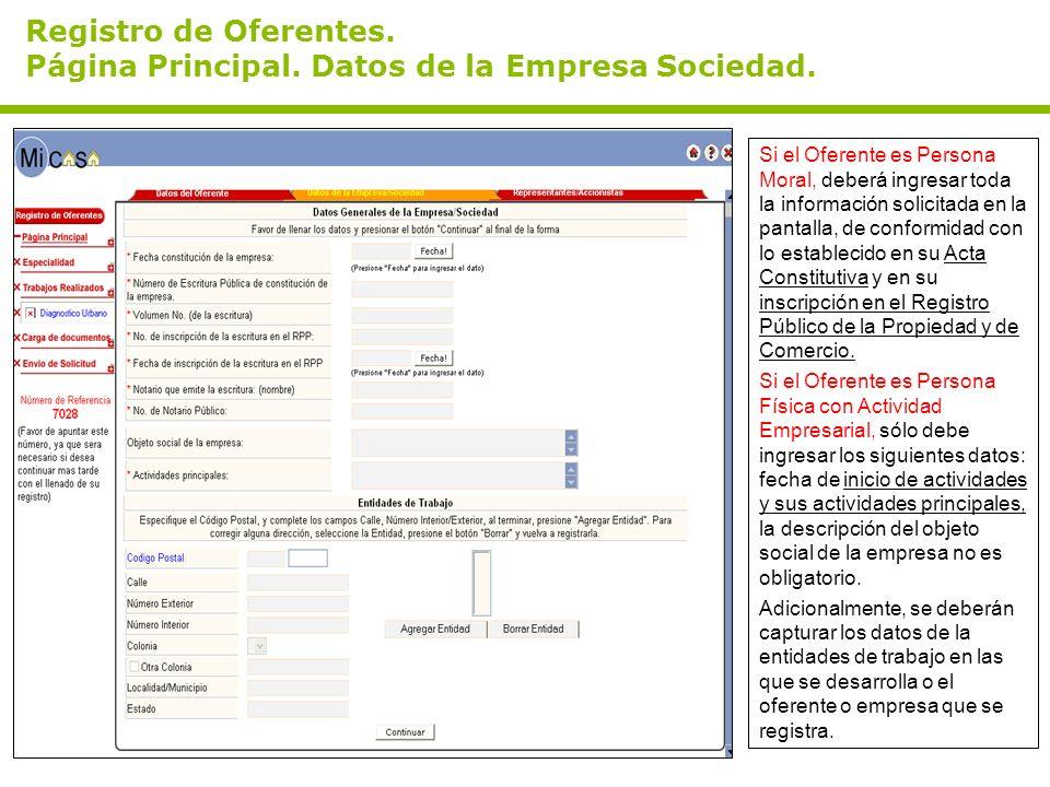 Registro de Oferentes. Página Principal. Datos de la Empresa Sociedad.
