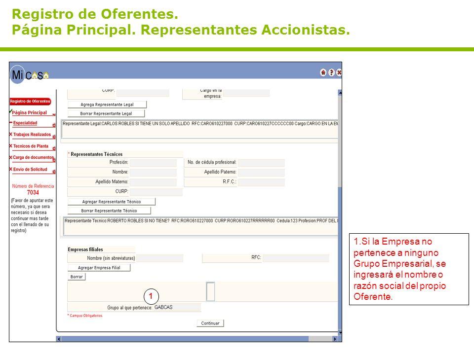 Registro de Oferentes. Página Principal. Representantes Accionistas.