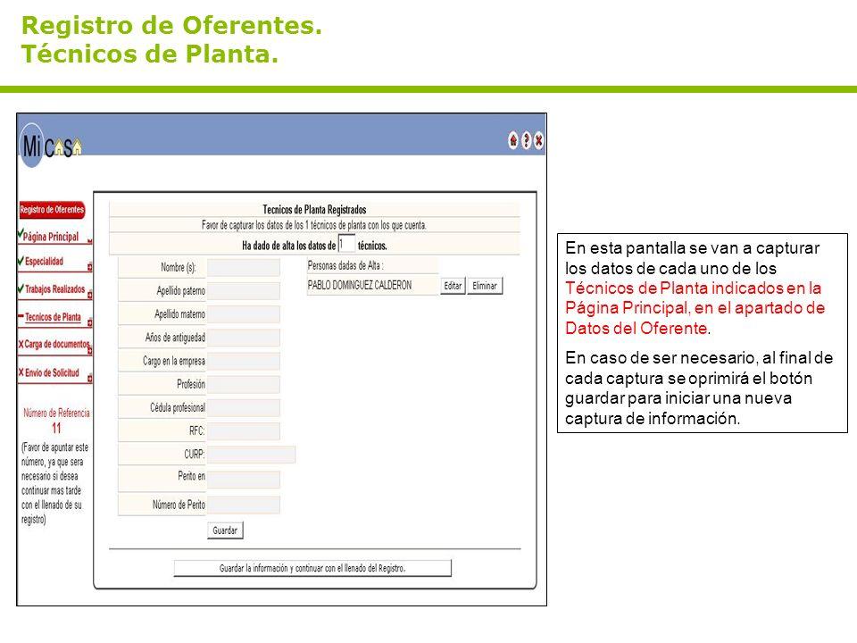 Registro de Oferentes. Técnicos de Planta.