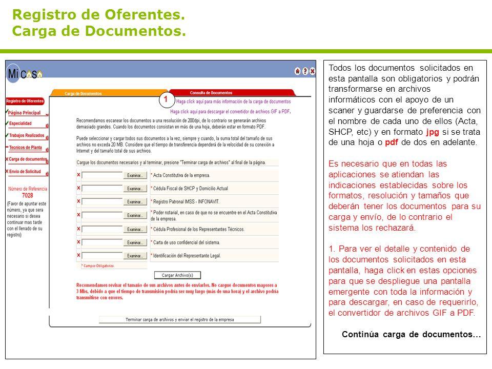 Registro de Oferentes. Carga de Documentos.