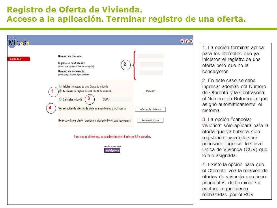 Registro de Oferta de Vivienda. Acceso a la aplicación