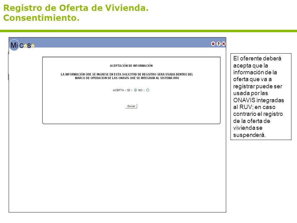 Registro de Oferta de Vivienda. Consentimiento.
