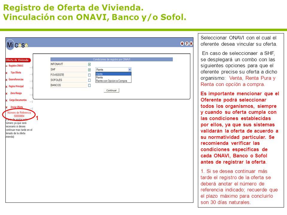 Registro de Oferta de Vivienda. Vinculación con ONAVI, Banco y/o Sofol.