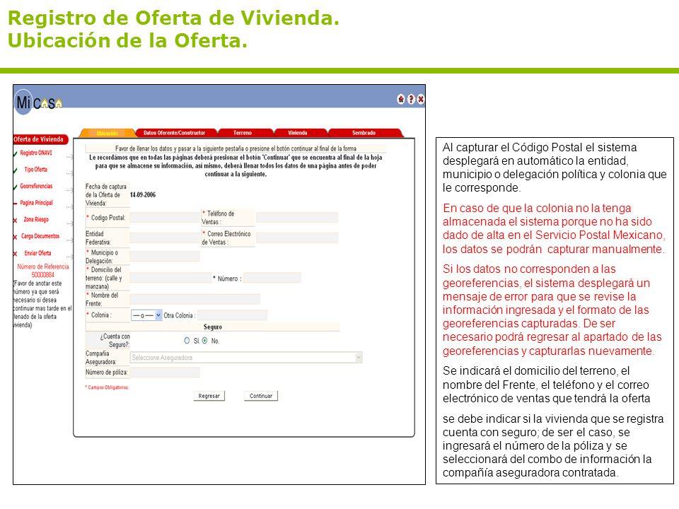 Registro de Oferta de Vivienda. Ubicación de la Oferta.