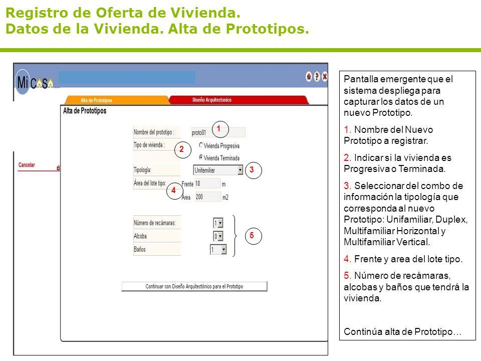 Registro de Oferta de Vivienda. Datos de la Vivienda