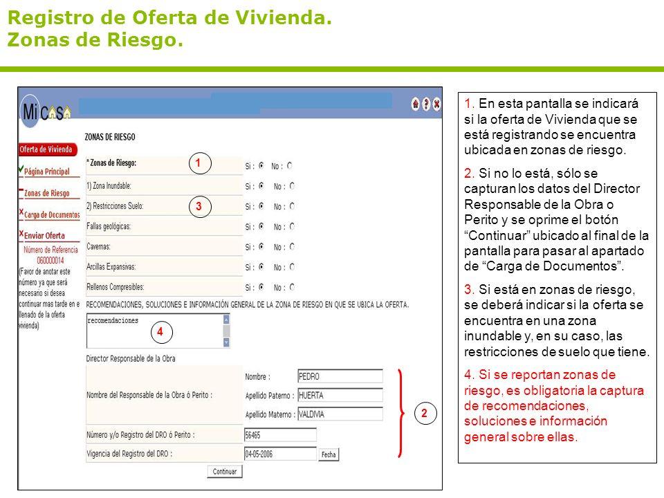 Registro de Oferta de Vivienda. Zonas de Riesgo.