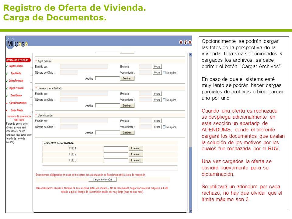 Registro de Oferta de Vivienda. Carga de Documentos.