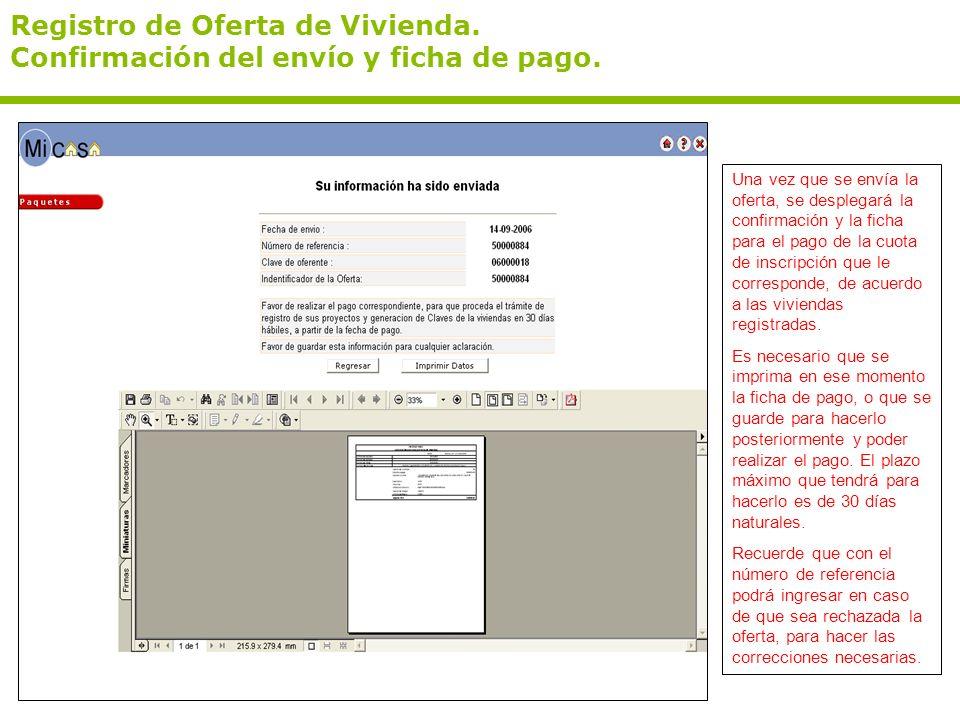 Registro de Oferta de Vivienda. Confirmación del envío y ficha de pago.