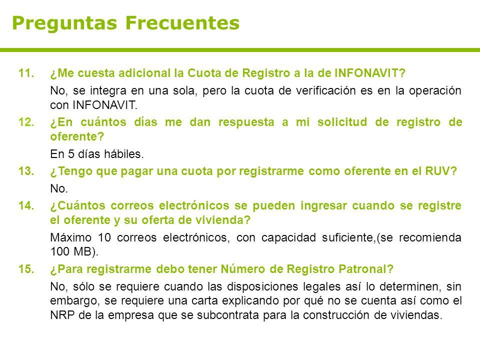Preguntas Frecuentes ¿Me cuesta adicional la Cuota de Registro a la de INFONAVIT