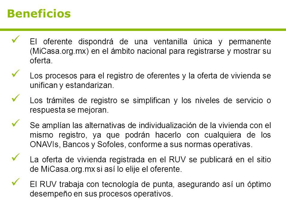 Beneficios El oferente dispondrá de una ventanilla única y permanente (MiCasa.org.mx) en el ámbito nacional para registrarse y mostrar su oferta.
