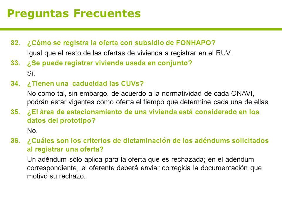 Preguntas Frecuentes 32. ¿Cómo se registra la oferta con subsidio de FONHAPO Igual que el resto de las ofertas de vivienda a registrar en el RUV.