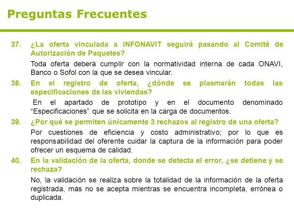 Preguntas Frecuentes 37. ¿La oferta vinculada a INFONAVIT seguirá pasando al Comité de Autorización de Paquetes