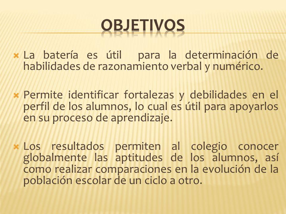 OBJETIVOS La batería es útil para la determinación de habilidades de razonamiento verbal y numérico.