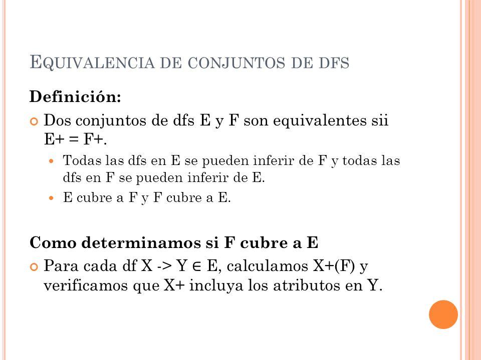 Equivalencia de conjuntos de dfs