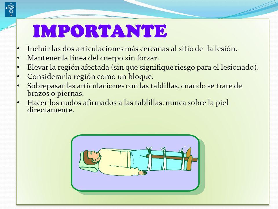 IMPORTANTE Incluir las dos articulaciones más cercanas al sitio de la lesión. Mantener la línea del cuerpo sin forzar.