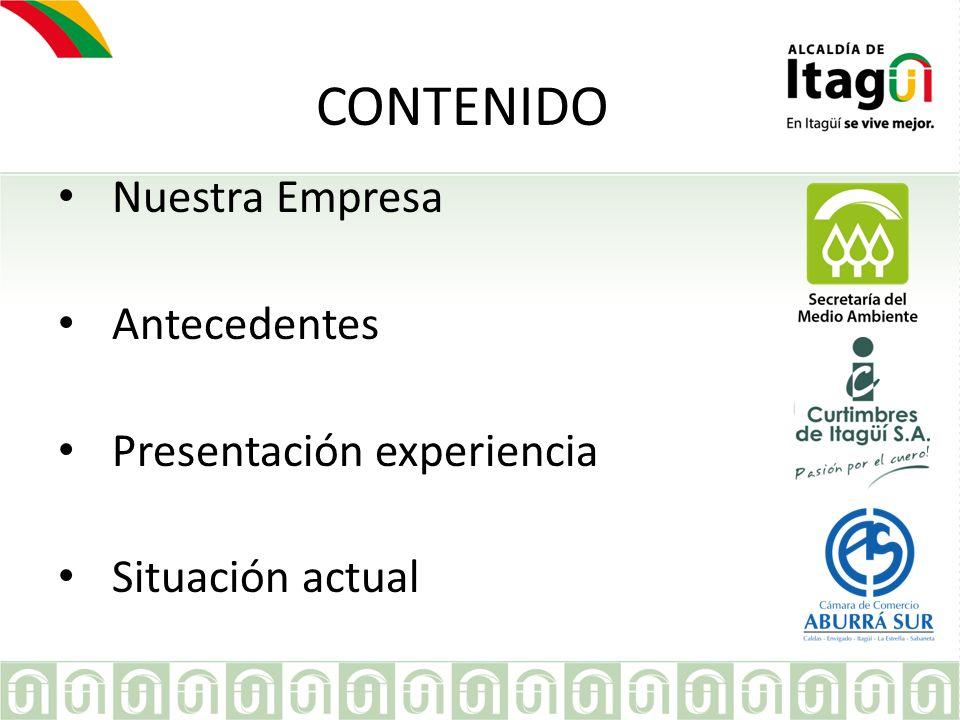 CONTENIDO Nuestra Empresa Antecedentes Presentación experiencia