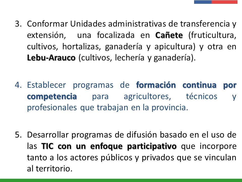 Conformar Unidades administrativas de transferencia y extensión, una focalizada en Cañete (fruticultura, cultivos, hortalizas, ganadería y apicultura) y otra en Lebu-Arauco (cultivos, lechería y ganadería).