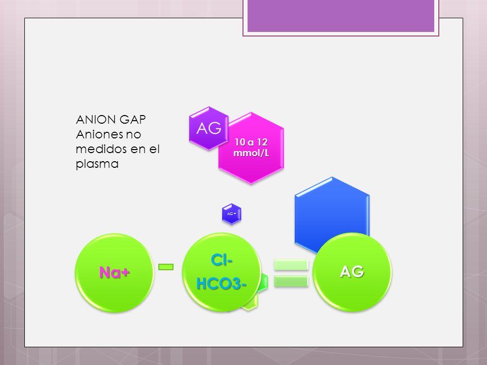 AG Cl- Na+ AG HCO3- ANION GAP Aniones no medidos en el plasma