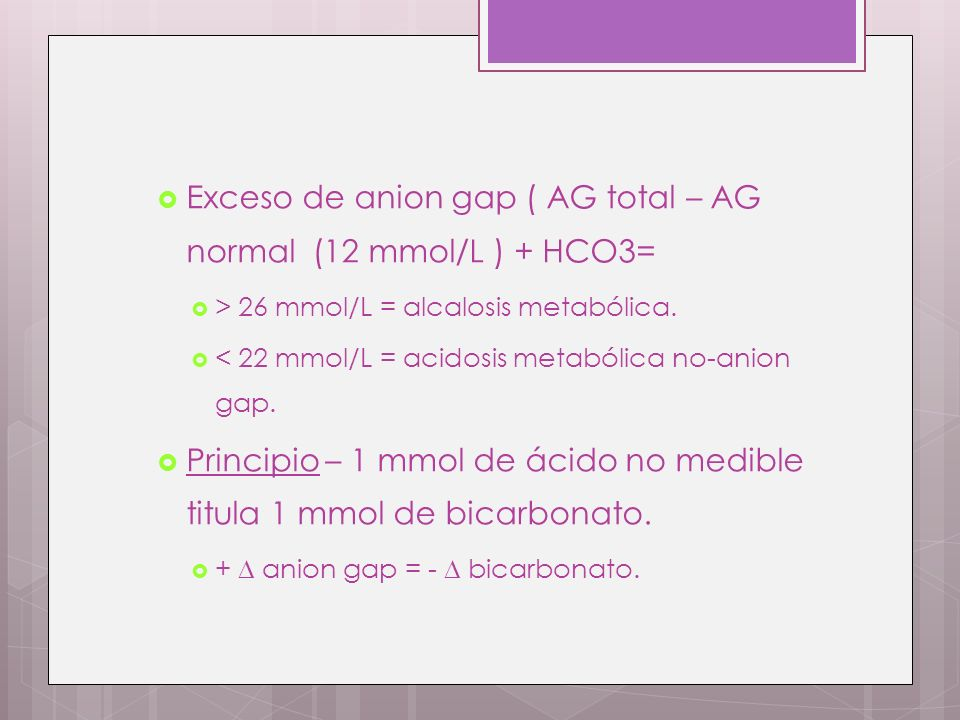 Exceso de anion gap ( AG total – AG normal (12 mmol/L ) + HCO3=