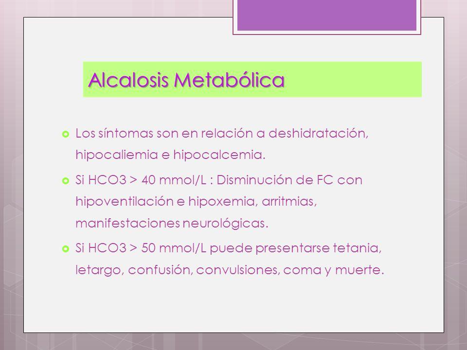Los síntomas son en relación a deshidratación, hipocaliemia e hipocalcemia.