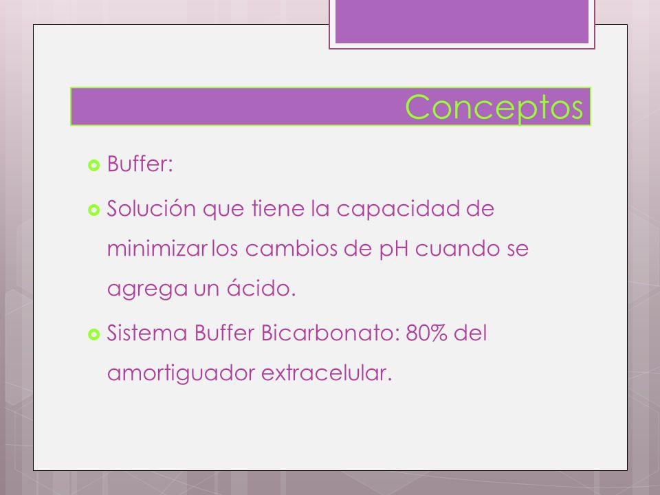 Buffer: Solución que tiene la capacidad de minimizar los cambios de pH cuando se agrega un ácido.