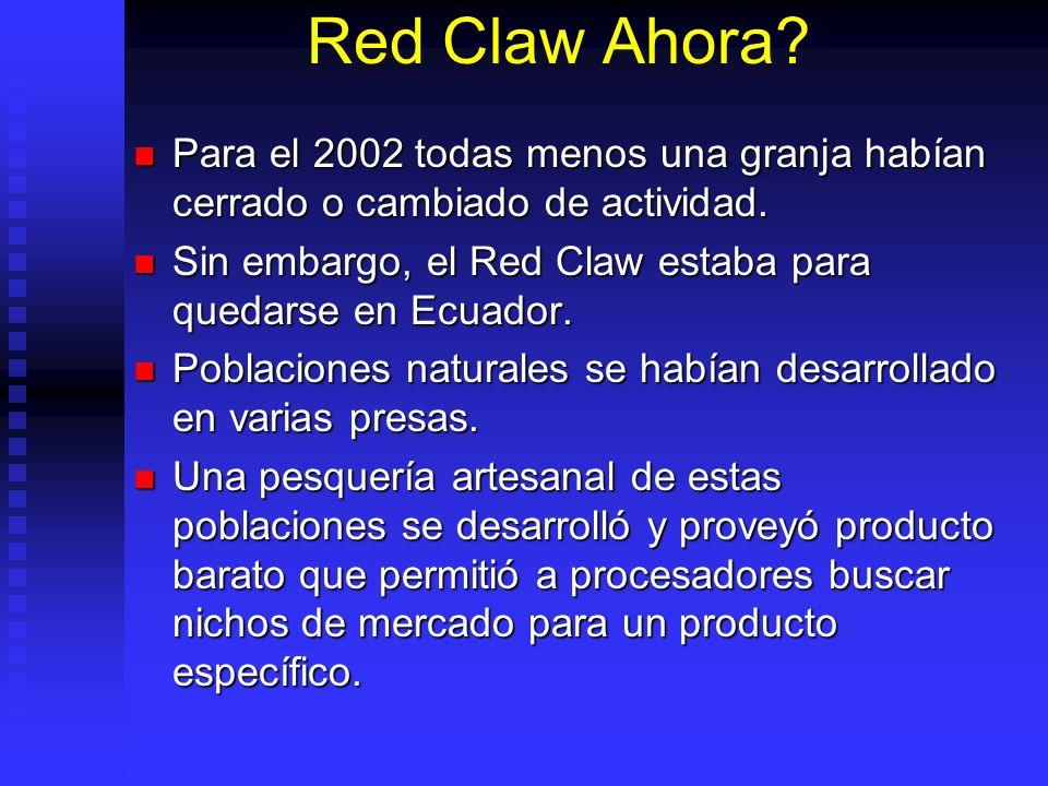 Red Claw Ahora Para el 2002 todas menos una granja habían cerrado o cambiado de actividad.