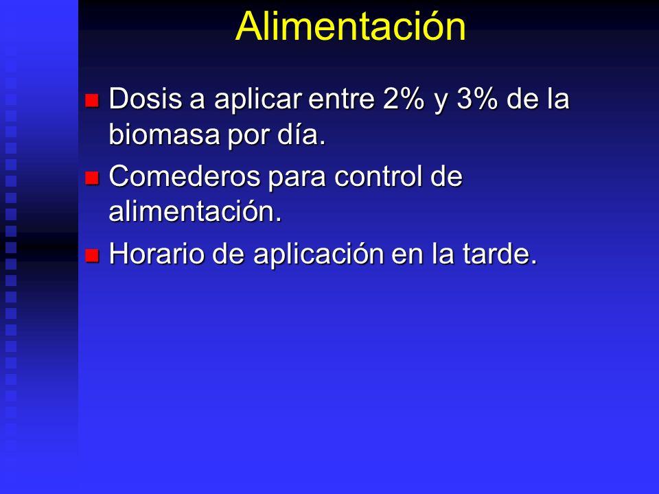 Alimentación Dosis a aplicar entre 2% y 3% de la biomasa por día.
