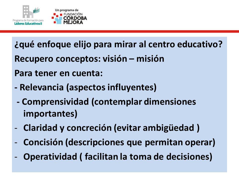 ¿qué enfoque elijo para mirar al centro educativo