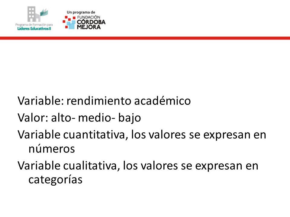 Variable: rendimiento académico Valor: alto- medio- bajo Variable cuantitativa, los valores se expresan en números Variable cualitativa, los valores se expresan en categorías