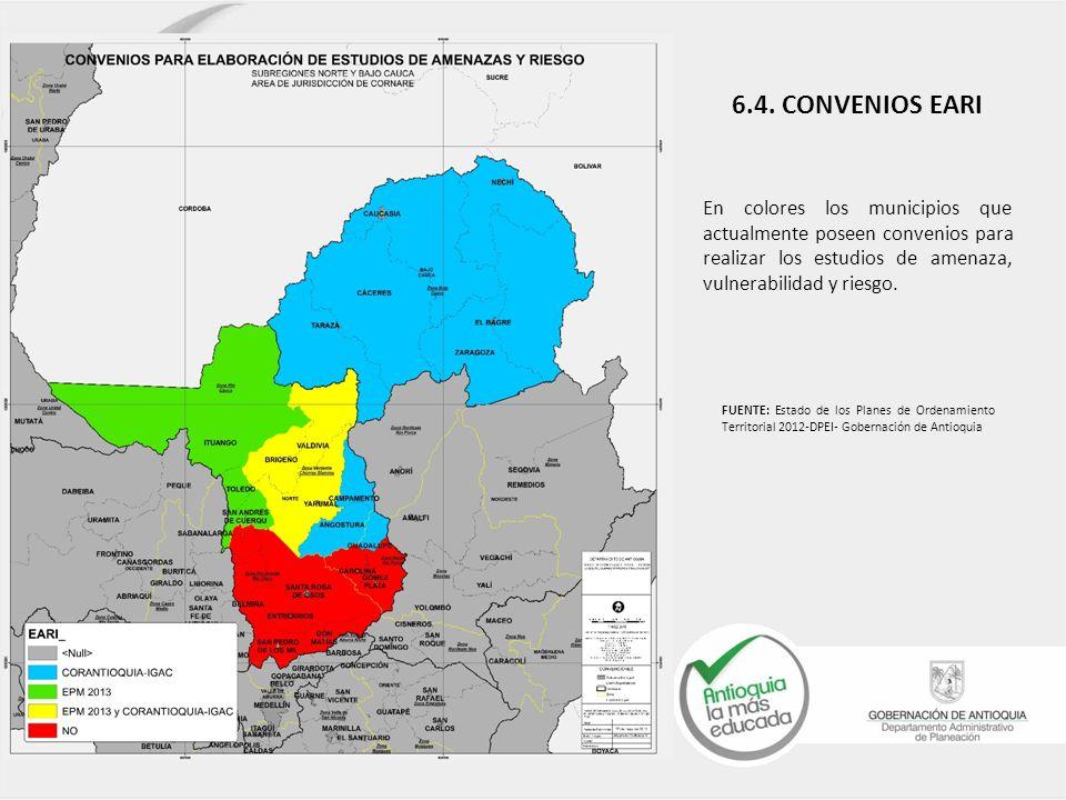 En colores los municipios que actualmente poseen convenios para realizar los estudios de amenaza, vulnerabilidad y riesgo.
