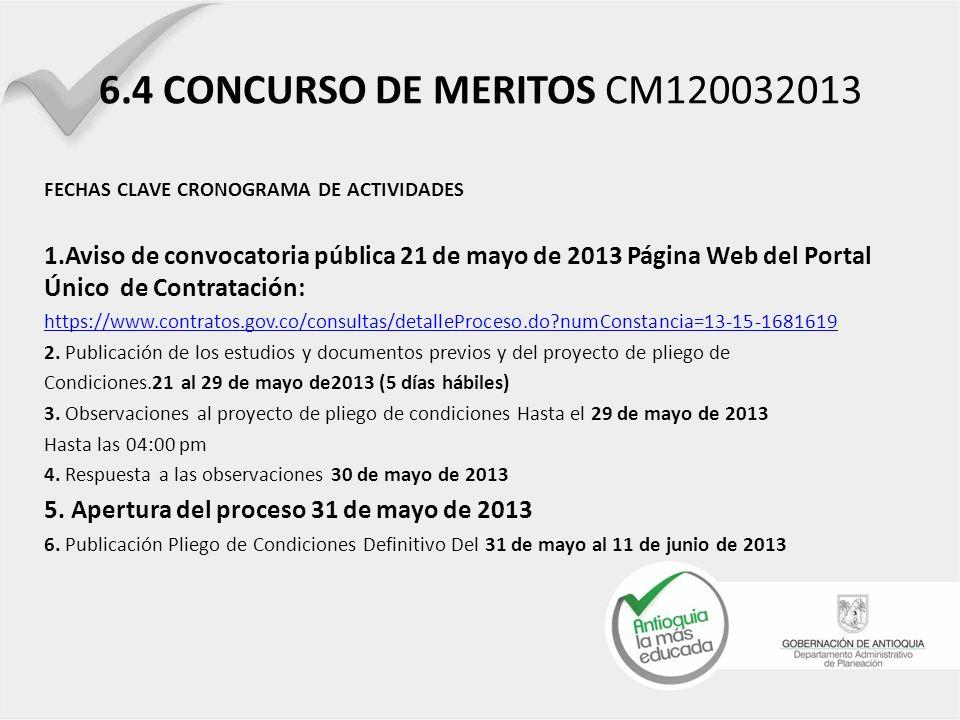6.4 CONCURSO DE MERITOS CM120032013 FECHAS CLAVE CRONOGRAMA DE ACTIVIDADES.