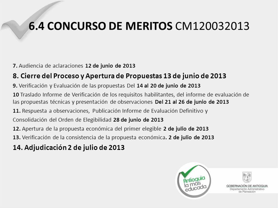 6.4 CONCURSO DE MERITOS CM120032013 7. Audiencia de aclaraciones 12 de junio de 2013.