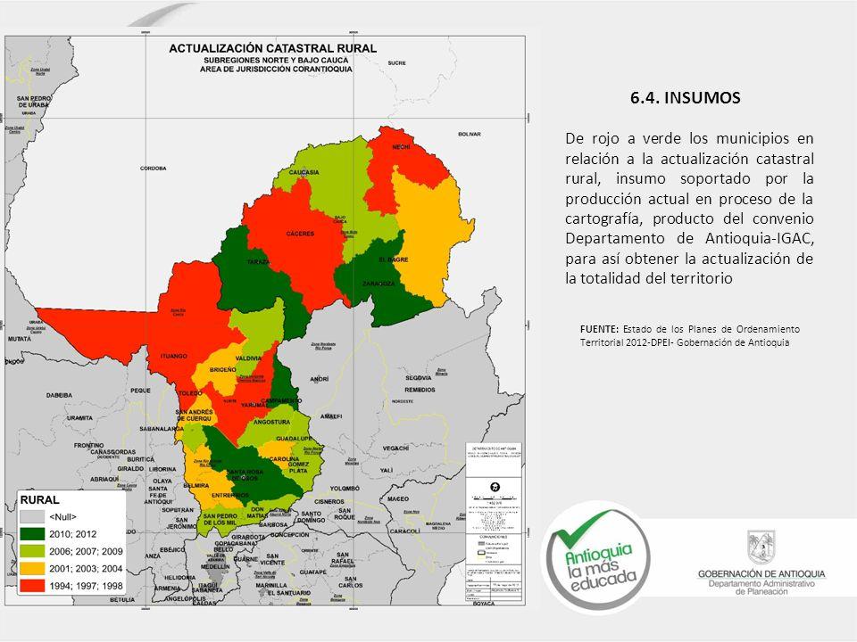 De rojo a verde los municipios en relación a la actualización catastral rural, insumo soportado por la producción actual en proceso de la cartografía, producto del convenio Departamento de Antioquia-IGAC, para así obtener la actualización de la totalidad del territorio