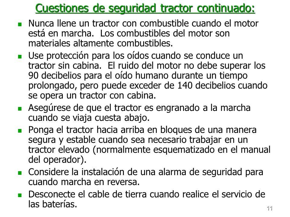 Cuestiones de seguridad tractor continuado: