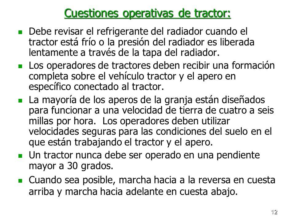 Cuestiones operativas de tractor: