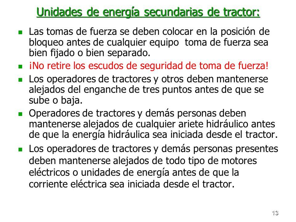 Unidades de energía secundarias de tractor:
