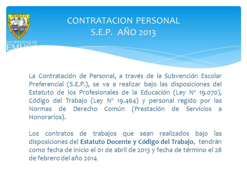 CONTRATACION PERSONAL S.E.P. AÑO 2013