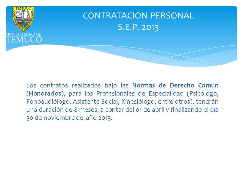 CONTRATACION PERSONAL S.E.P. 2013