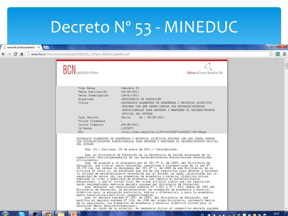 Decreto Nº 53 - MINEDUC