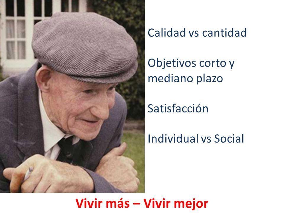 Calidad vs cantidad Objetivos corto y mediano plazo Satisfacción Individual vs Social