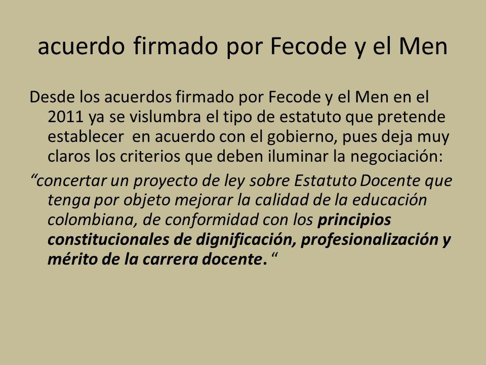 acuerdo firmado por Fecode y el Men
