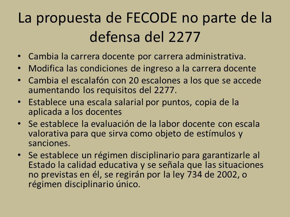 La propuesta de FECODE no parte de la defensa del 2277