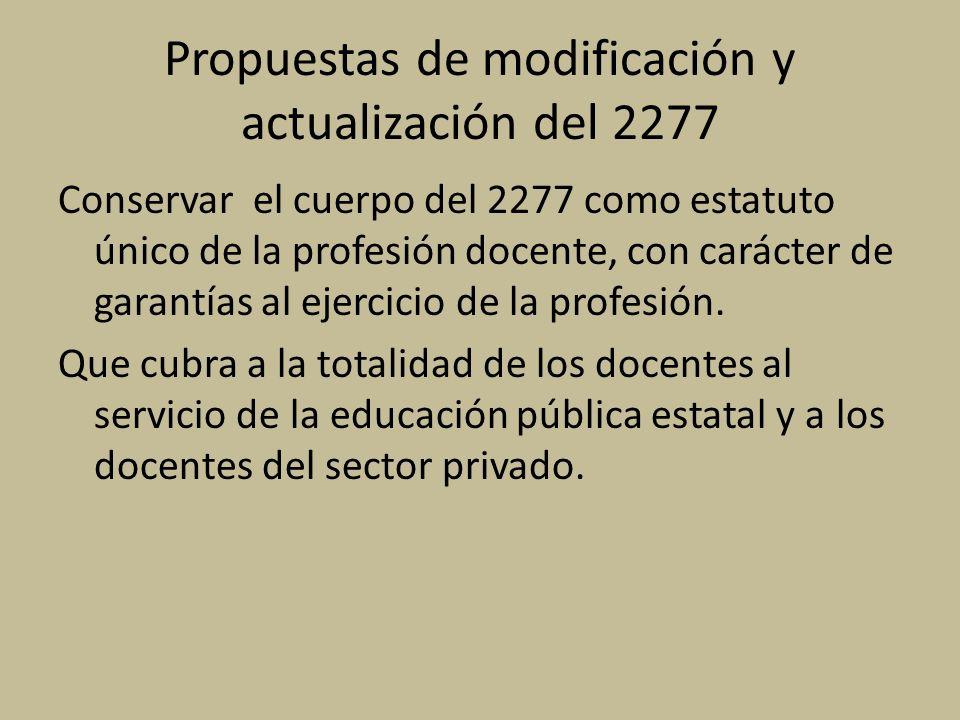 Propuestas de modificación y actualización del 2277