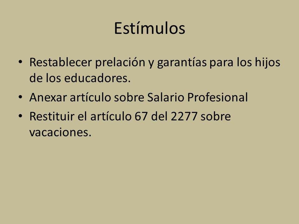 Estímulos Restablecer prelación y garantías para los hijos de los educadores. Anexar artículo sobre Salario Profesional.