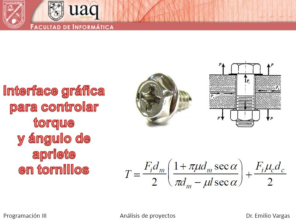 Interface gráfica para controlar torque y ángulo de apriete en tornillos
