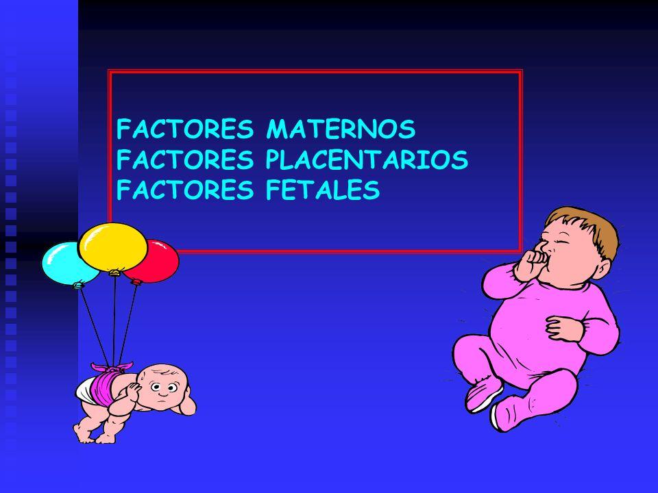 FACTORES MATERNOS FACTORES PLACENTARIOS FACTORES FETALES