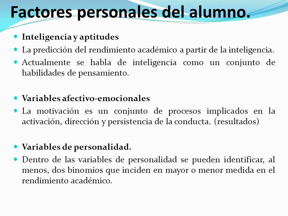 Factores personales del alumno.