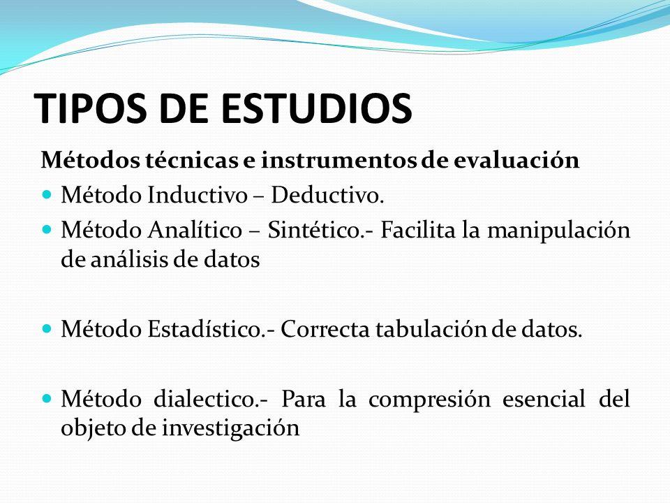 TIPOS DE ESTUDIOS Métodos técnicas e instrumentos de evaluación