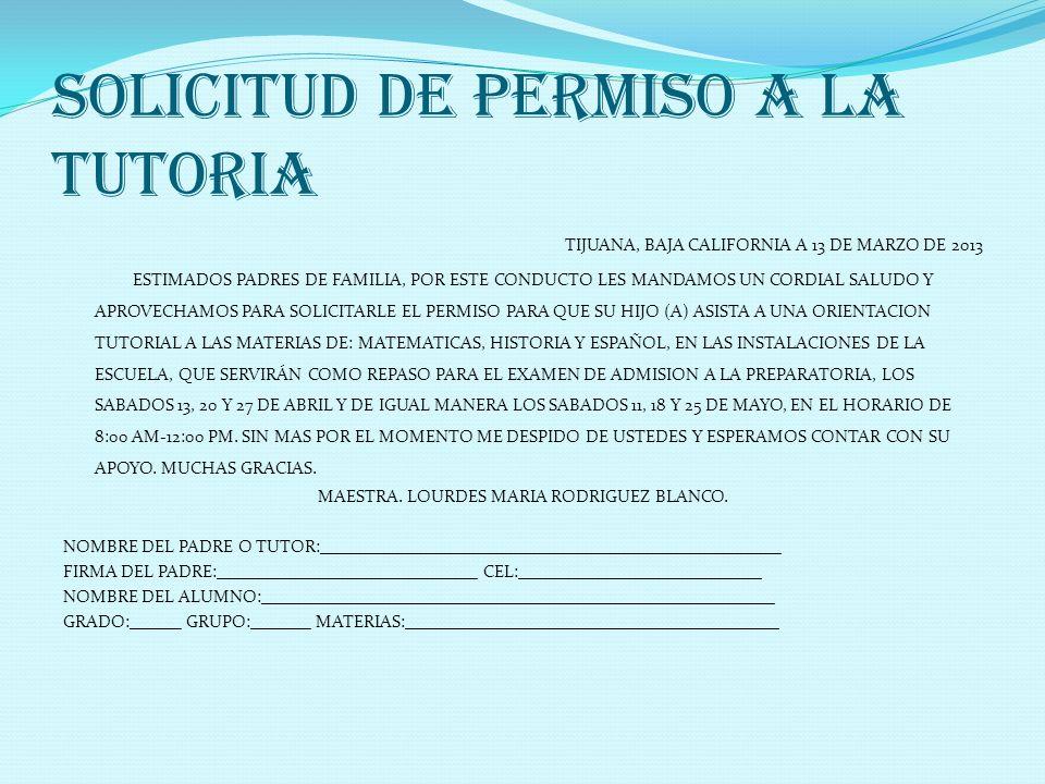 SOLICITUD DE PERMISO A LA TUTORIA