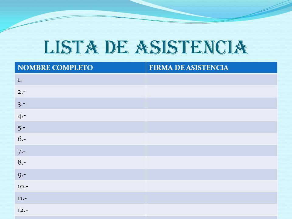 LISTA DE ASISTENCIA NOMBRE COMPLETO FIRMA DE ASISTENCIA 1.- 2.- 3.-
